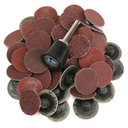 Newly 50pcs R Type Roll Lock Sanding Discs With 1x Mandrel 36//60//80//120//220 Grit