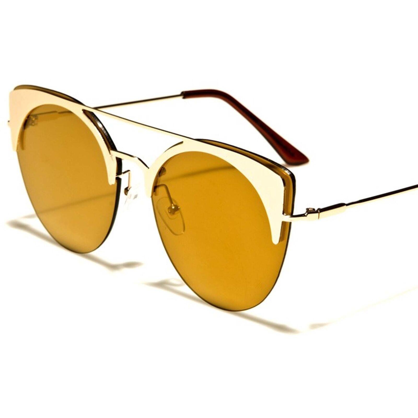 Celebrity Fashion Elegant Womens Designer Gold Mirrored Lens Cat Eye Sunglasses