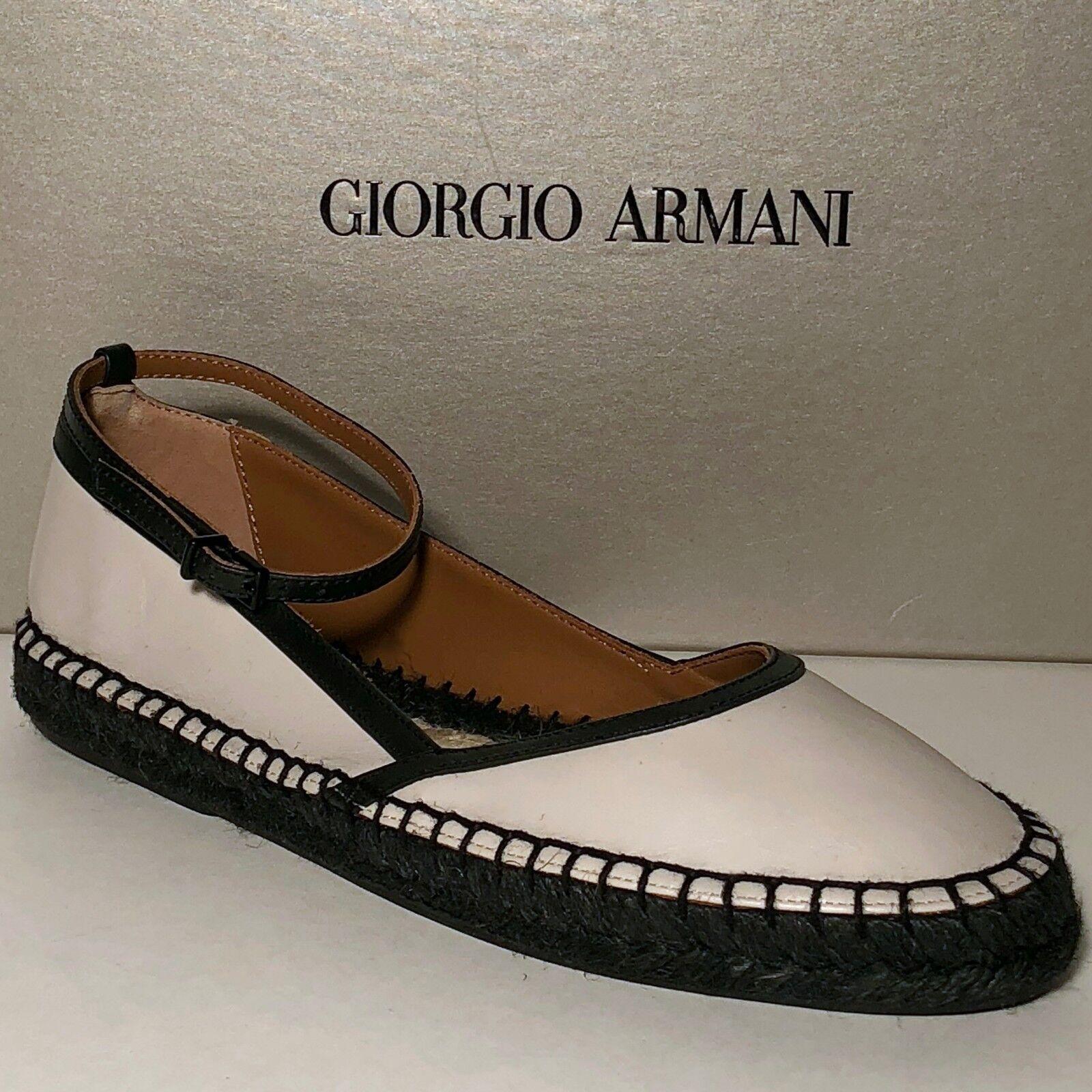 425 Giorgio Armani Femmes Noir Couleur Chair X1S010 Cuir 6 36 Fashion Sandals Flats