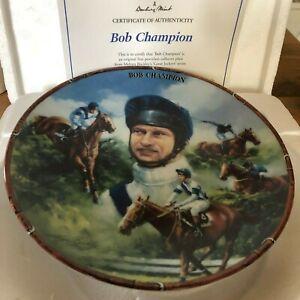 RACEHORSE-PLATE-JOCKEY-BOB-CHAMPION-DANBURY-MINT-ROYAL-WORCESTER-CERT-amp-BOX