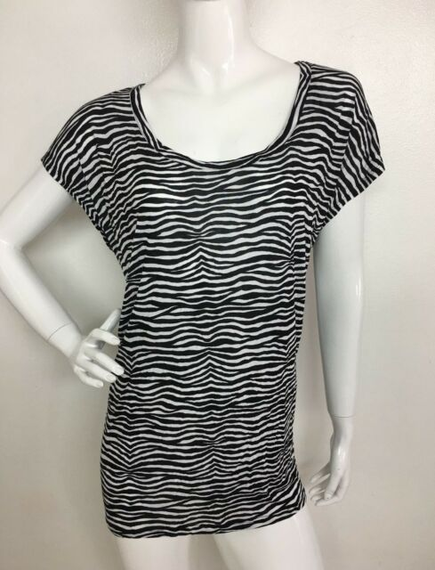 434974f91443 Michael Kors New Woman Plus Sz 2X Black White Printed Blouse T-Shirt Top Tee