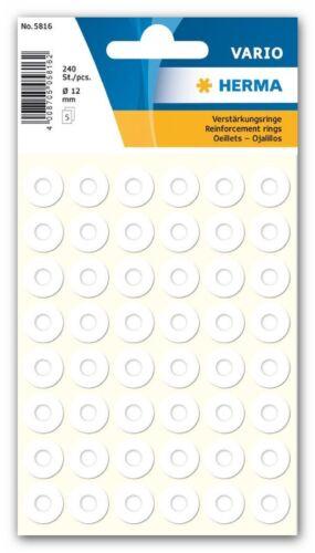 weiß Ø 12 mm selbstklebend HERMA 5816 10 Pack à 240 Verstärkungsringe
