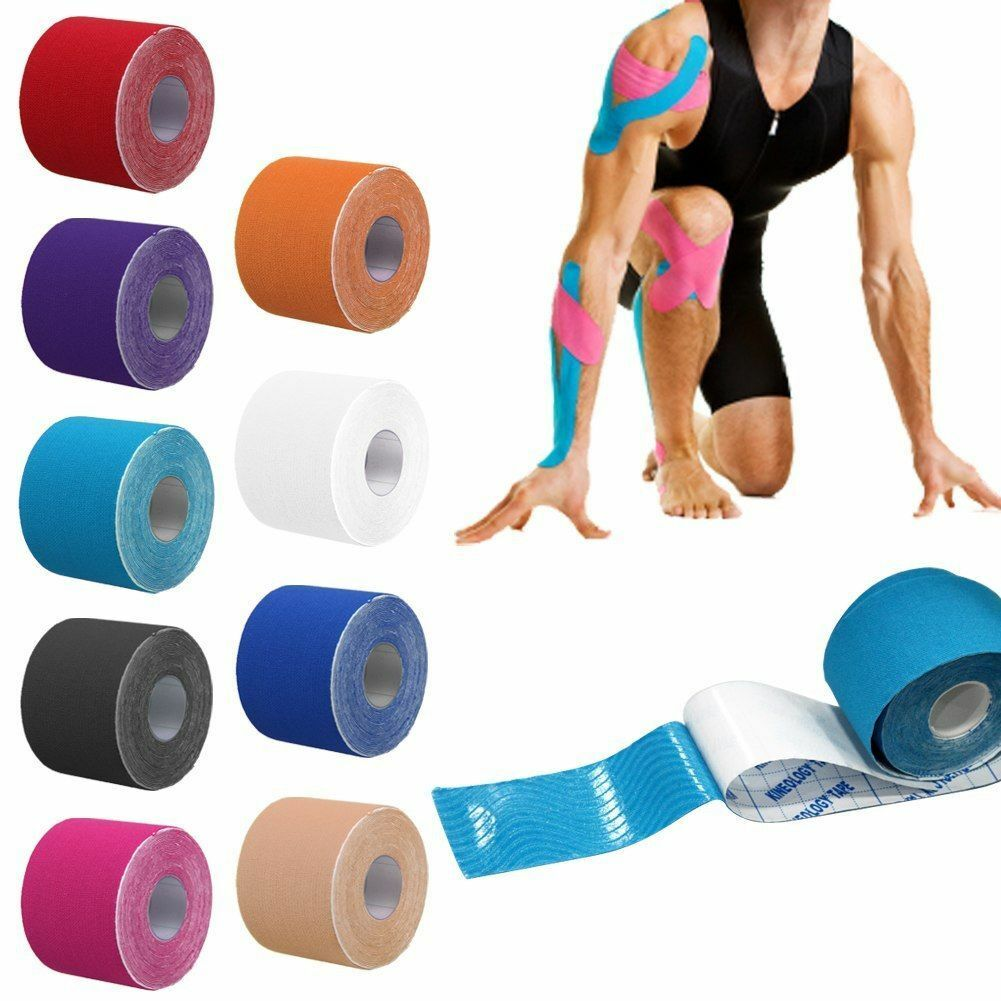 Newest 1Roll 5M Kinesiology Sports Tape Muscles Care Elastic Physio Therapeutic