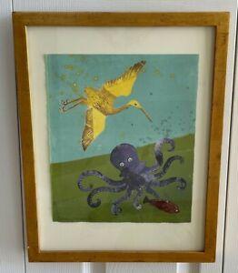 """Susan Amons Master Printmaker """"Wave/Charlie Byrd I"""" Monotype Artwork"""