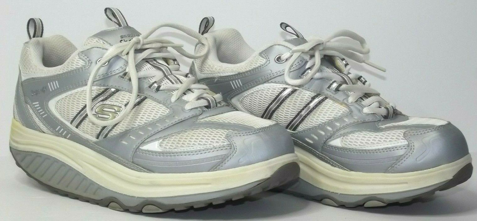 Skechers Shape Ups SN11814 White Grey Womens Size 9.5