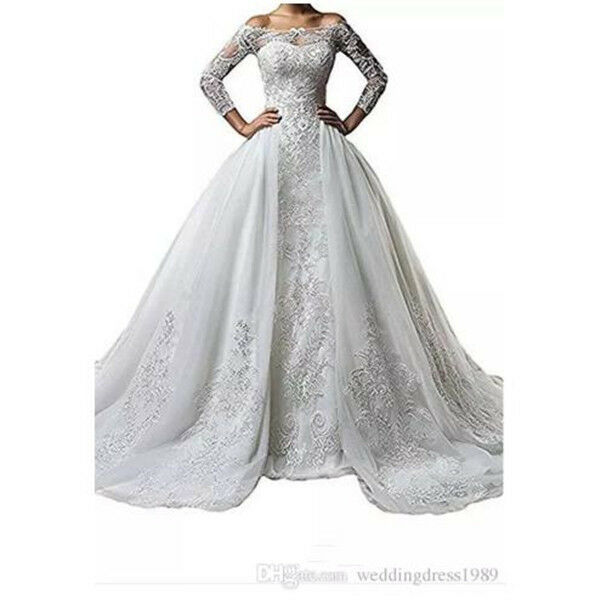 Plus Size off Shoulder Lace Long Sleeve Wedding Dresses With Detachable  Skirt