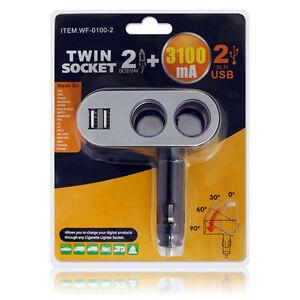 MULTIPRESA SDOPPIATORE PRESA ACCENDISIGARI 12V 24V AUTO 2 USB 3.1A MOLTIPLICATOR