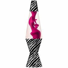 "Lava Lite 14.5"" Zebra Lava Lamp, Hot Pink Wax/Clear Liquid, 2421, New"