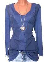 Sheego Shirt Longshirt Mesh Langarm blau Gr. 40 42 44 46 48 50 52 54 NEU - L58