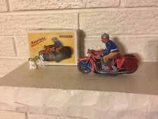 Tin Litho Toy RED MOTORCYCLE AND RIDER Wind Up Mechanism