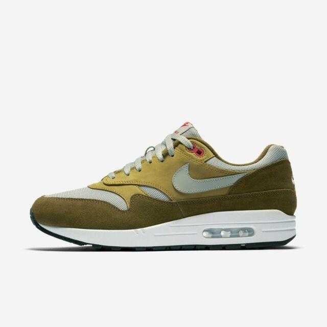 b134057975 Nike Air Max 1 Premium Retro 908366-300 Olive Green Fog Grey White Men's  Shoes