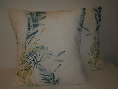 """LAURA ASHLEY FLORAL STRIPE GREY GREEN PAIR OF 16/"""" CUSHION COVERS"""