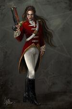 Sci-Fi Fantasy character Art print Giclee Steam Punk female military smoking gun