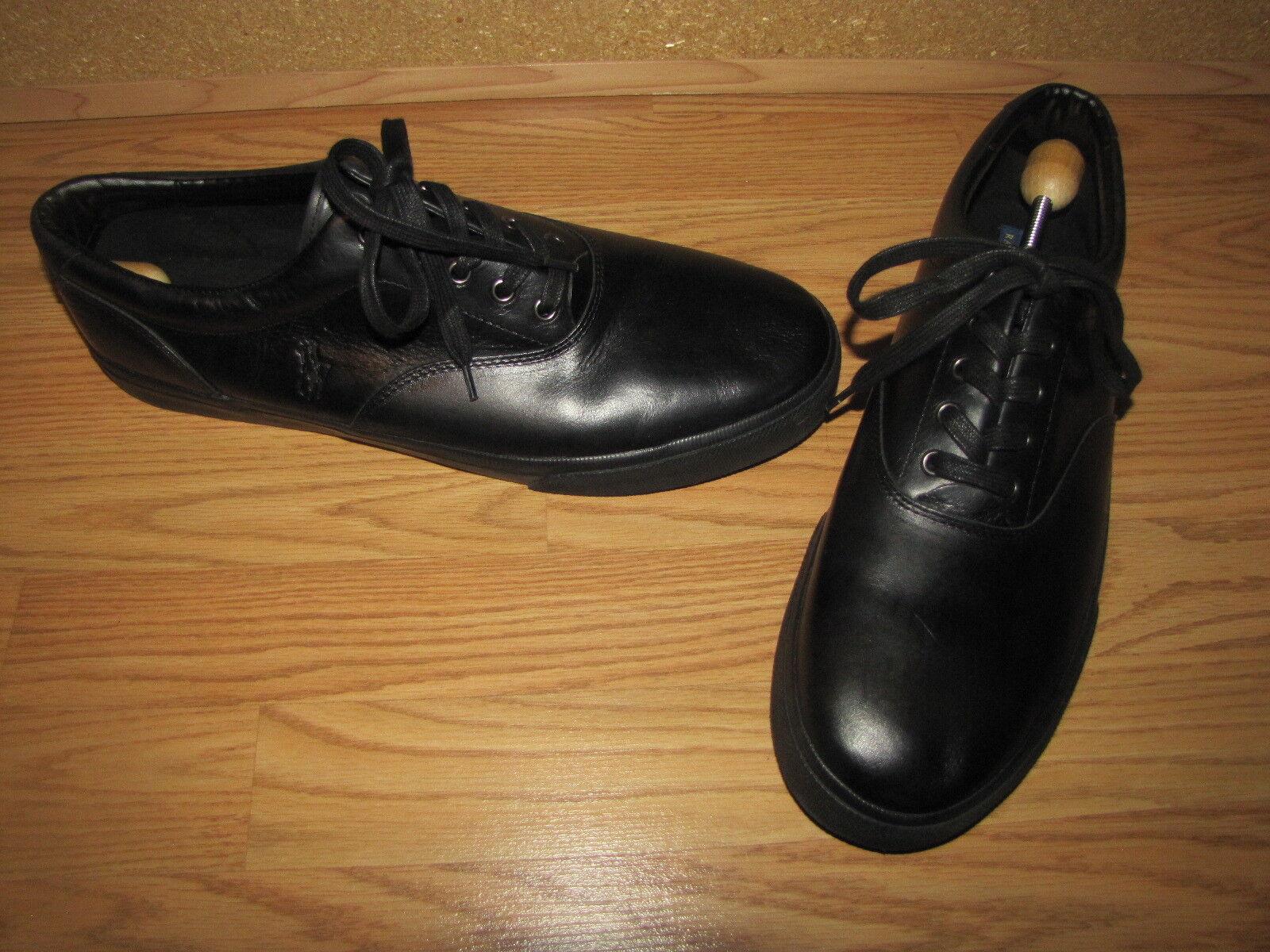 NWOB Ralph Lauren Black Vaugh Leather Sneakers  - 15D European 49