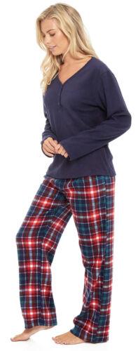 Damen Mikro Fleece Pyjama Geknöpft Kragen Winter Hausanzug Schlafanzüge