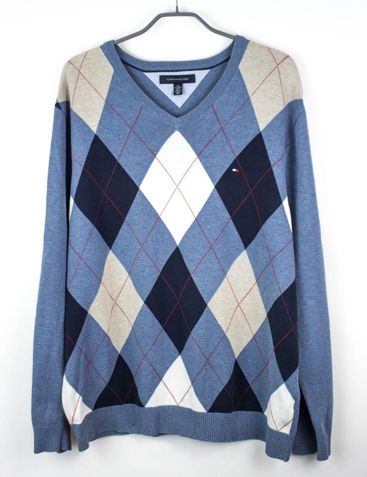 Tommy Hilfiger Herren Pulli V Ausschnitt Pullover Sweatshirt Größe 2XL FZ16