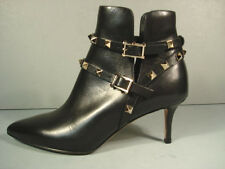 Valentino Black Leather Gold Rock Stud Ankle Boots Bootie Shoes Med Heel 35 New