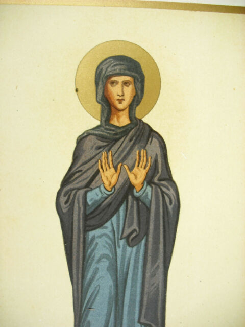 La Virgin Marie Empire Of Byzantium Xe Century Emile Beautiful Litho Xixth 1858