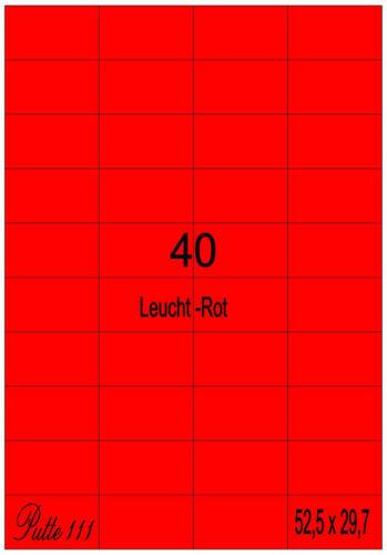 160 Klebe Etiketten Leuchtrot 52,5 mm x  29,7 mm 4 Bogen Markierung Eckig