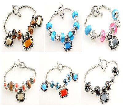 Handmade Women'S lampwork Glass Crystal silver European beaded charm bracelet JP