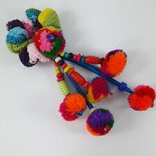 New Mix Colorful Pom Pom Ponytail Holder Yarn Hair Tie Band Thai Craft Handmade