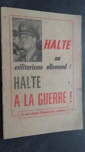 Folleto Halte A Militarismo Alemán Halte a La Guerra 1961 ABE