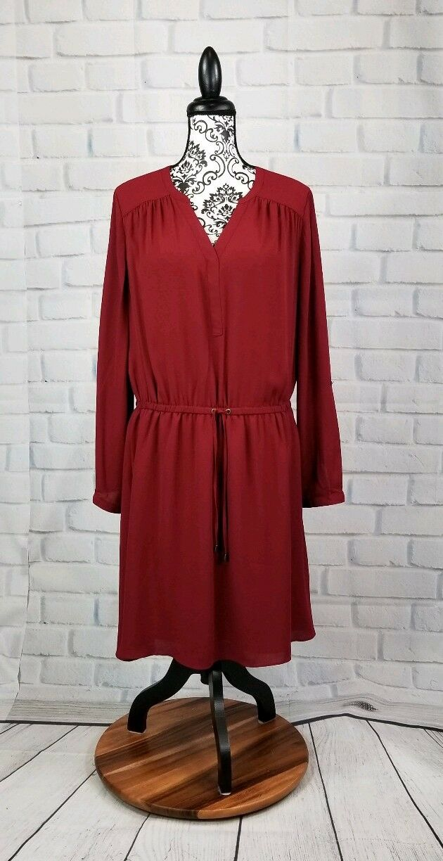 Reitmans women's size xl long tab sleeve adjustable tie waist dress nwt b08a