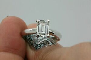 Diamond-Engagement-Wedding-Ring-14K-Emerald-Cut-White-Gold-2-00-Ct-Size-P-1-2-O