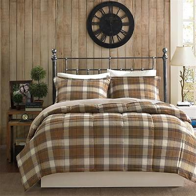 COZY CABIN SOFT PLAID STRIPE COUNTRY BROWN GREY TAUPE BLUE BEIGE COMFORTER SET