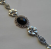 CAMELLIA FILIGREE VICTORIAN STYLE FACETED BLACK SILVER PLATED BRACELET CFB