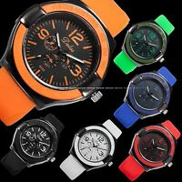 Stylish Men's Silicone Rubber Jelly Band Black Dial Sport Quartz Wrist Watch New