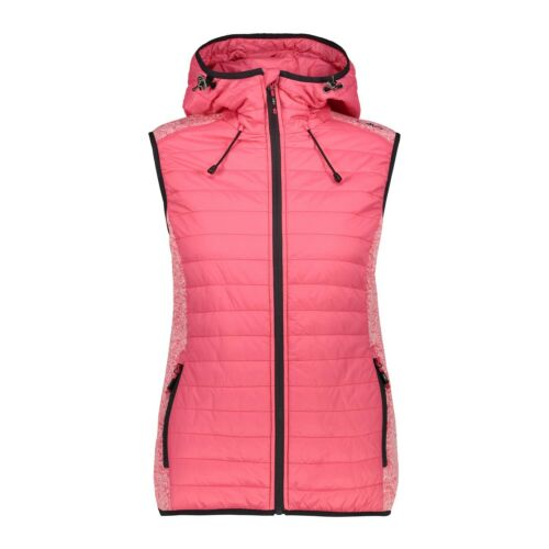 CMP Hybride Gilet Gilet Woman Vest Fix Hood Hybride Rose Respirant