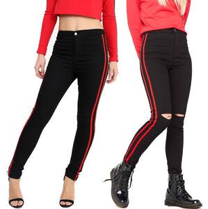 rouge bande sur le c t jeans moulant d chir taille haute. Black Bedroom Furniture Sets. Home Design Ideas