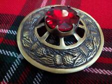 TC Men's Fly Plaid Brooch Thistle Design Red Stone/Kilt Fly Plaid Brooch Antique