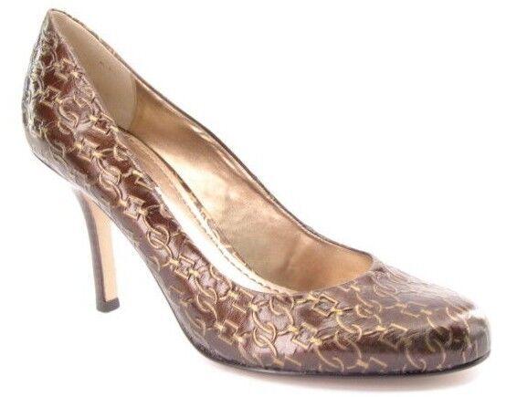 ny NINE WEST kvinnor bspringaaa guld guld guld läder Slip on Heel Pump skor Sz 8.5 M  försäljningsstället