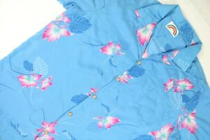 Vintage-Paradise-Found-Hawaiian-Shirt-Floral-Blue-Pink-Men-039-s-Size-XXL