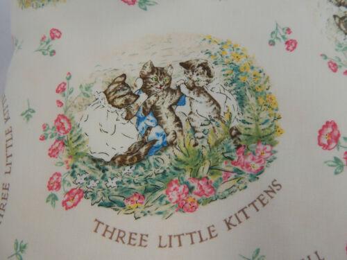 Beatrix Potter Three Little Kittens Nursery Cushion Cover 40cmx40cm Handmade