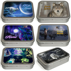 Personalised Wolf Tobacco Tin 2oz Baccy Fathers Day Cigarette Birthday Gift