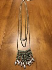 Lucky Brand Two Tone, Three Chain, Turquoise Paddle Pendant Necklace, NWT $49