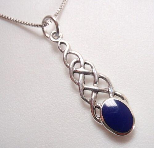 Bleu lapis Celtic Weave 925 Argent Sterling Collier Corona Sun Jewelry