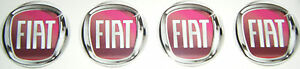 4 X FIAT RED ALLOY WHEEL CENTRES STICKERS BADGES CAR 50MM FREE UK POSTAGE