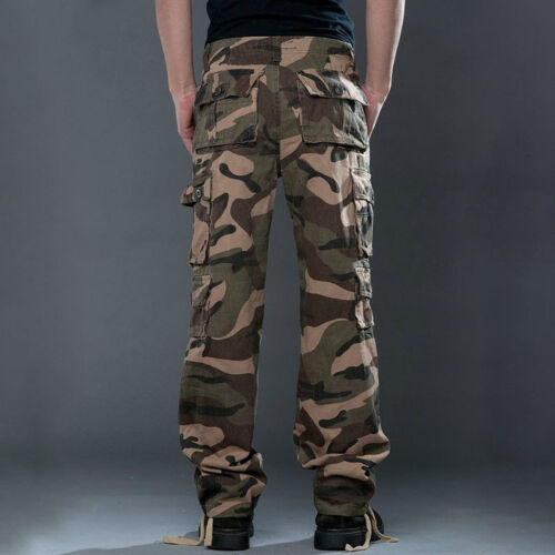 Men Army Military Combat Cargo Camo Pants Camping Fishing Work Pocket Trouser UK