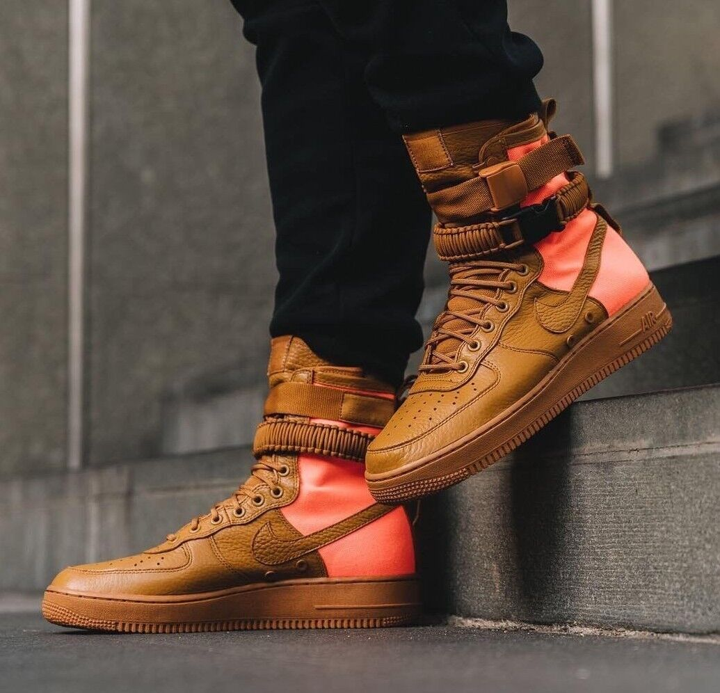 Homme NIKE AF AF1 AIR FORCE 1 QS Taille 8 EUR 42.5 (903270 778) DESERT OCHRE ORANGE