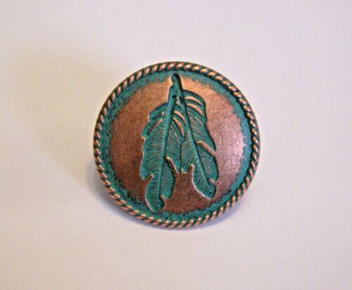 Wild rag Scarf SLIDE Western Cowboy Buckaroo Concho copper turquoise feather