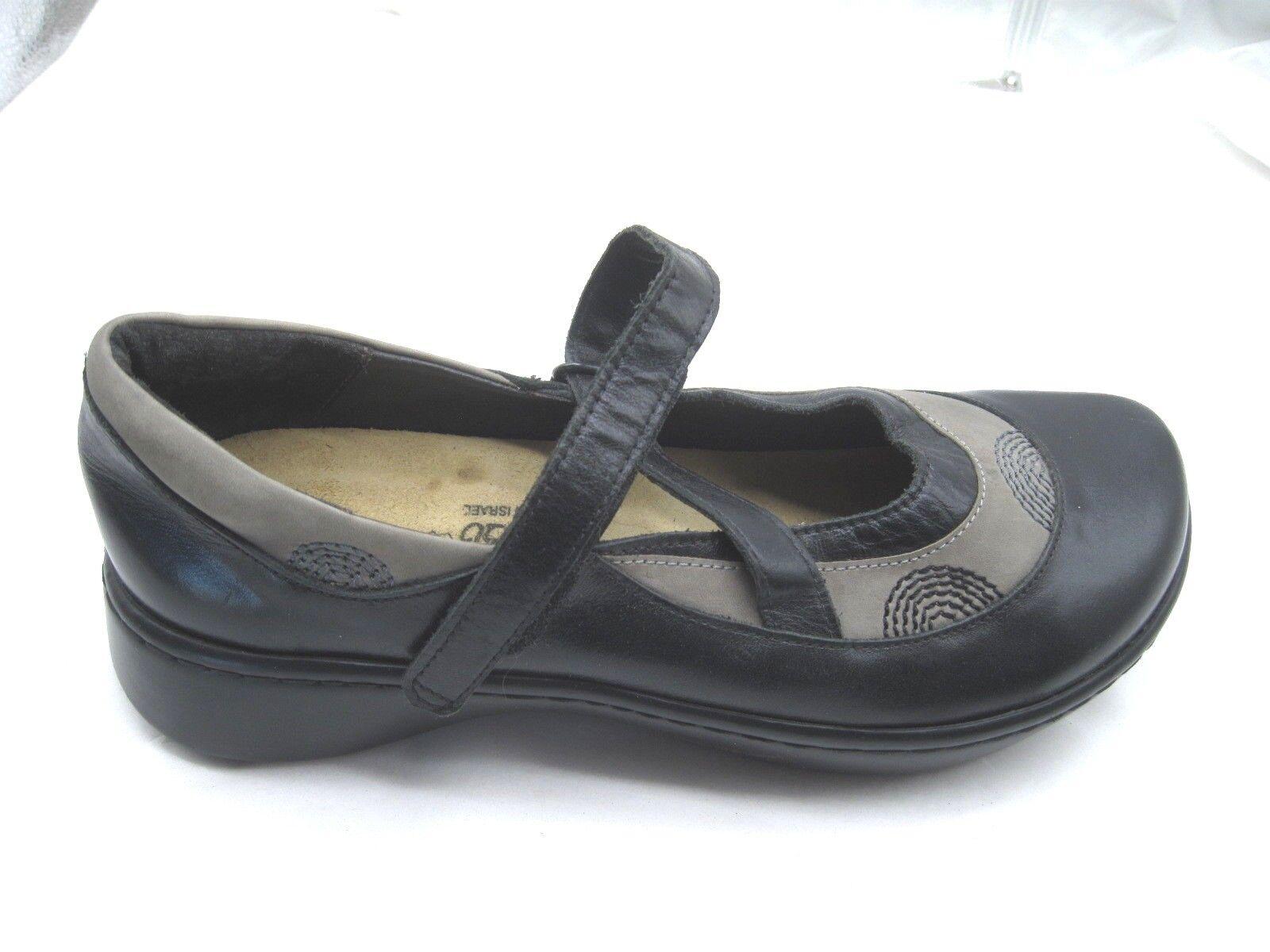 Naot Talla 38 7M Negro Cuero sin Mary Janes para mujeres Damas Mocasines zapatos sin Cuero taco c044d0