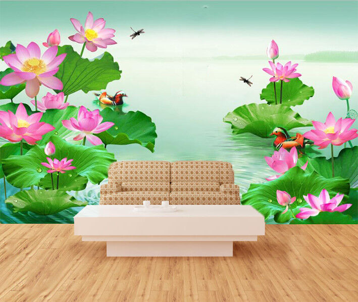 3D Lotus Leaf Pond 97 Wallpaper Mural Wall Print Wall Wallpaper Murals US Carly