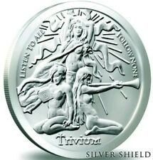 1 OZ 999 PURE SILVER SHIELD TRIVIUM GIRLS  ROUND FREEDOM GIRL COIN CAPSULE BU