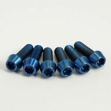 BLUE Titanium Stem Bolts- Set of six. Fit Road or MTB bars 6 x M5 16mm length.