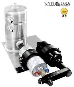 Bosch-044-Fuel-Pump-Billet-High-Flow-Fuel-Filter-Swirl-Surge-Pot-Assembly-BLACK