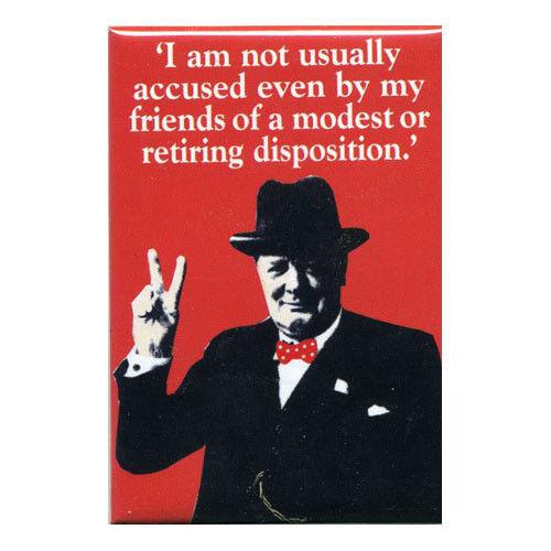 """Winston Churchill Retiring Disposition Fridge Magnet 3/"""" x 2/"""""""